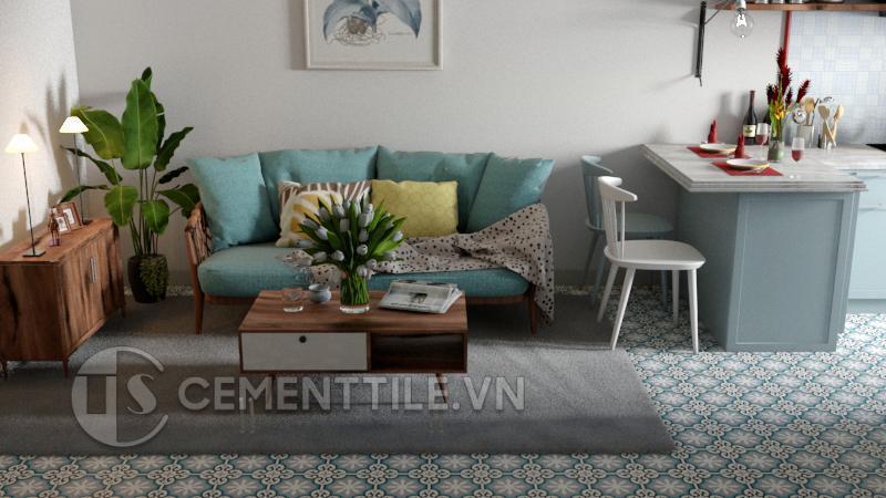 Gạch bông cts 1.10 trang trí phòng khách