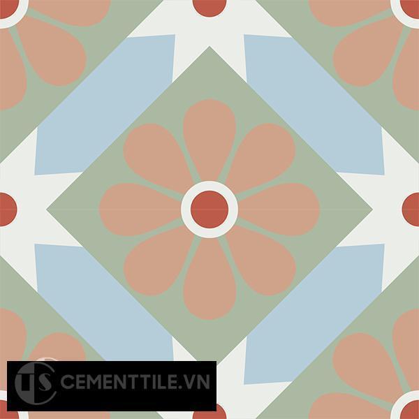 Gạch bông CTS 62.1(2-4-5-7-11) - 4 viên - Encaustic cement tile CTS 62.1(2-4-5-7-11)-4 tiles