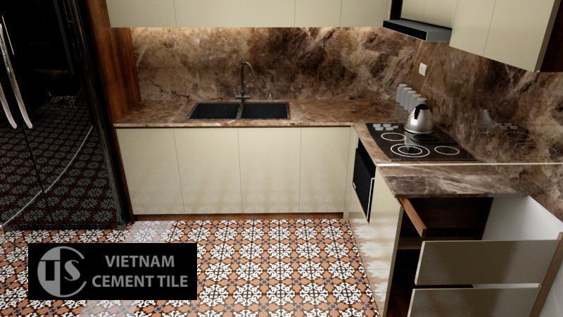 Gạch bông 20x20 CTS 18.2 lát nền nhà bếp