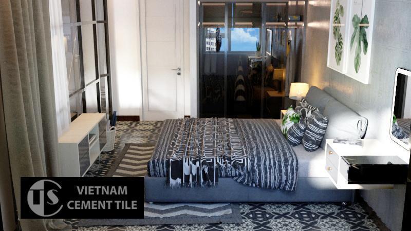 Gạch bông cts 122.1 trang trí phòng ngủ
