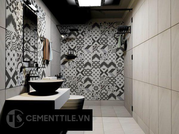 Gạch bông trắng xám đen ốp tường nhà tắm