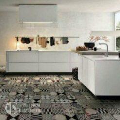 Gạch bông tổng hợp màu trắng đen xám   Cement tile patchwork white grey black color