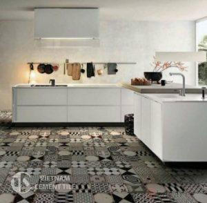 Gạch bông tổng hợp màu trắng đen xám | Cement tile patchwork white grey black color