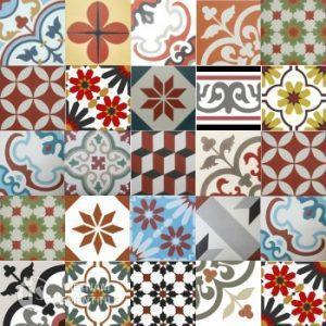 Gạch bông tổng hợp màu đỏ vàng nâu | Cement tile patchwork red yellow brown color