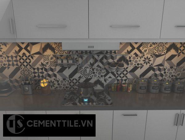 Gạch bông trắng xám đen trang trí nhà bếp