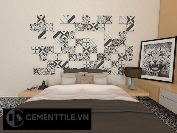 Gạch bông cts trắng xám đen ốp tường trang trí phòng ngủ