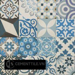 Gạch bông tổng hợp trắng xanh dương