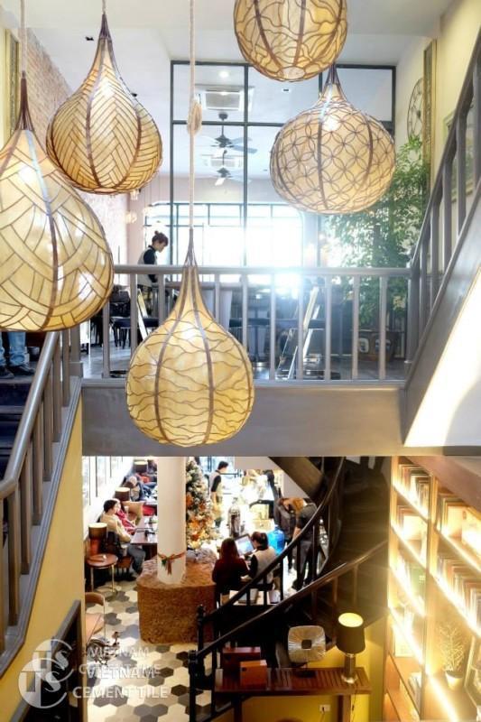 Gạch bông lục giác tổng hợp patchwork tại cafe Runam Hà Nội