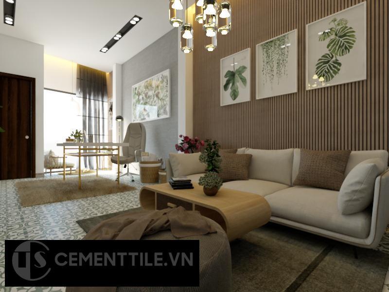 Gạch bông cts 97.1 trang trí phòng khách