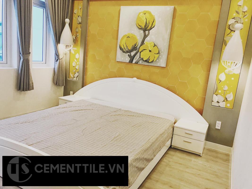 Gạch bông lục giác trang trí phòng ngủ độc đáo