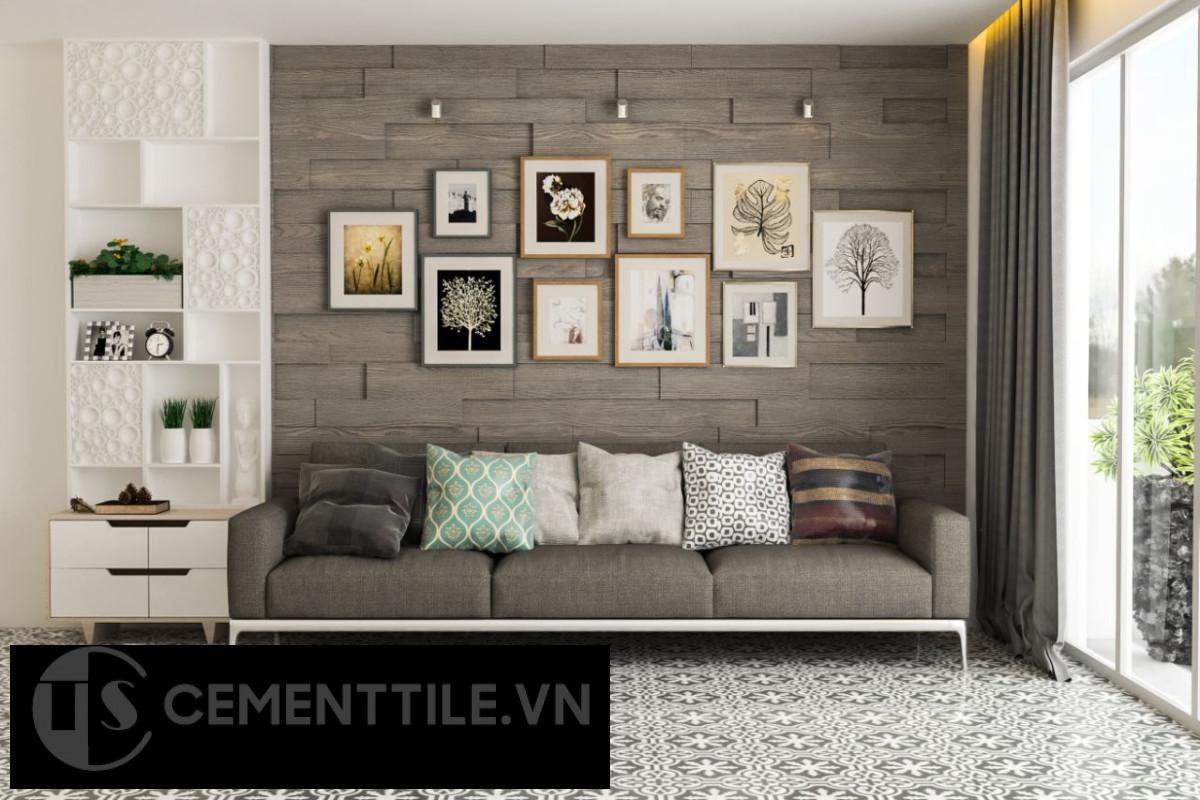 gạch bông trang trí phòng khách ấn tượng