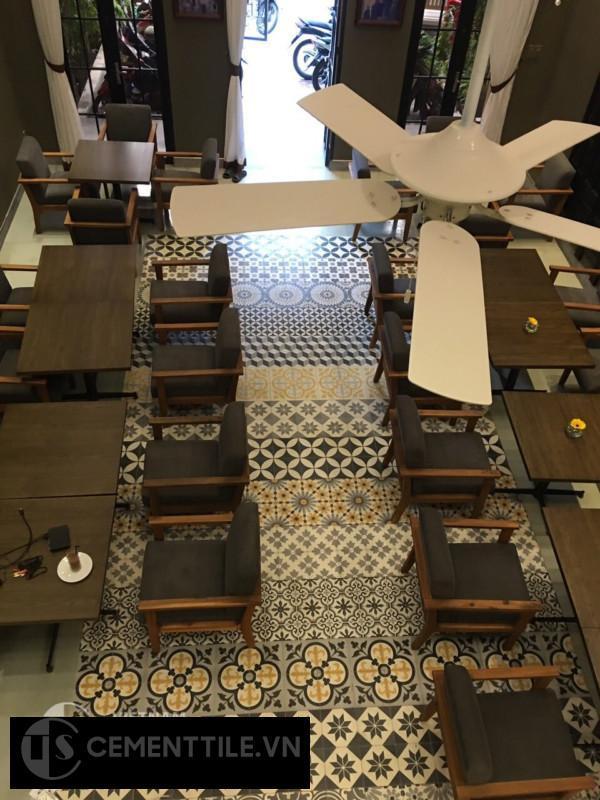 gạch bông trang trí quán cà phê