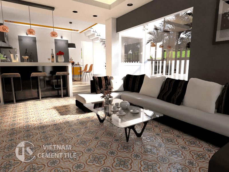 Gạch bông cts 153.1 trang trí phòng khách