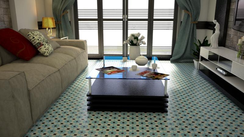 Gạch bông cts 3.8 trang trí phòng khách