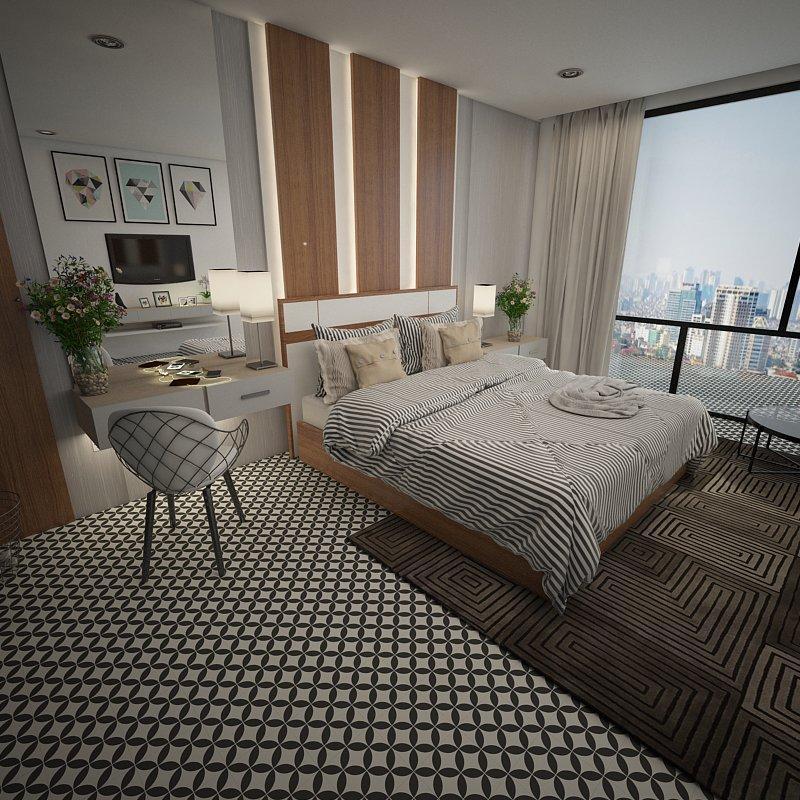 Gạch bông CTS 6.1 trang trí phòng ngủ