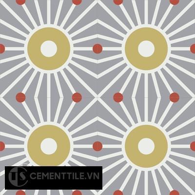 Gạch bông CTS 155.1(4-5-129)- 4 viên - Encaustic cement tile CTS 155.1(4-5-129)-4 tiles