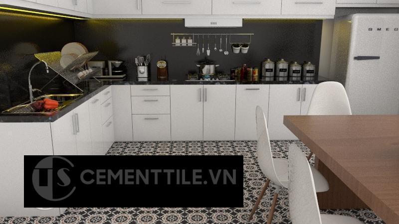 Gạch bông cts 48.1 trang trí phòng bếp