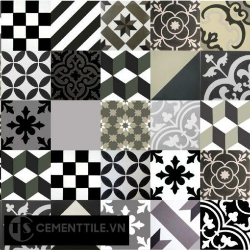 Patchwork cement tile black white grey
