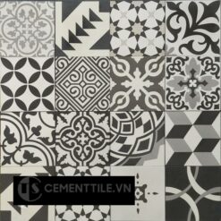 Gạch bông tổng hợp trắng xám đen