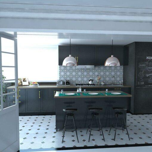 Gạch bông CTS 1.36 ốp tường trang trí nhà bếp