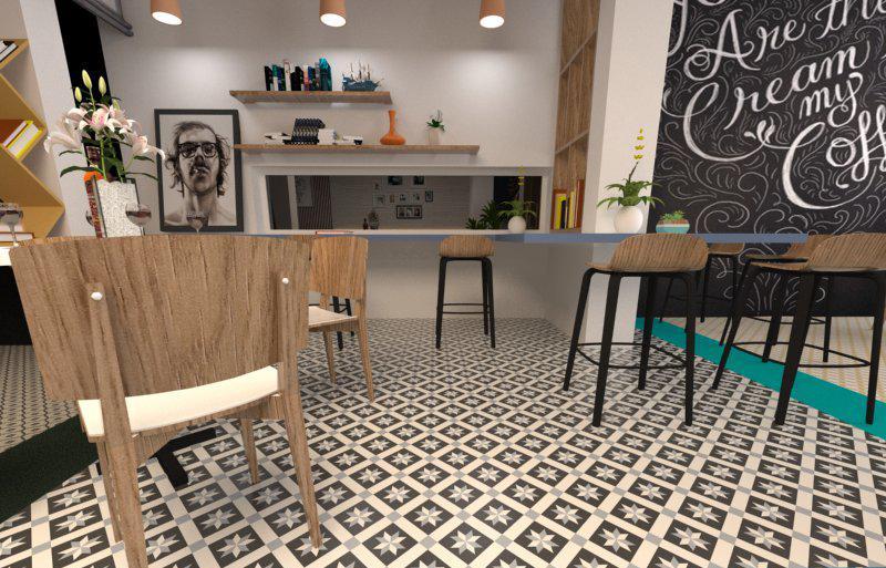 Gạch bông cts 12.6 lát nền quán cà phê
