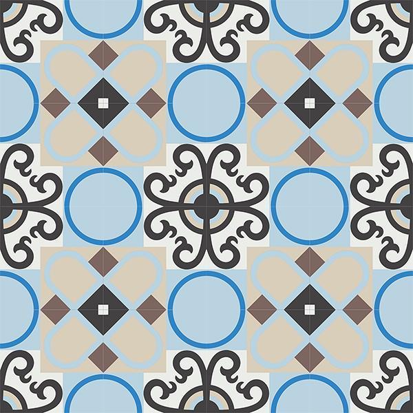 Gạch bông CTS 83.1(2-4-8-12-13-14) - 16 viên - Encaustic cement tile CTS 83.1(2-4-8-12-13-14)-16 tiles