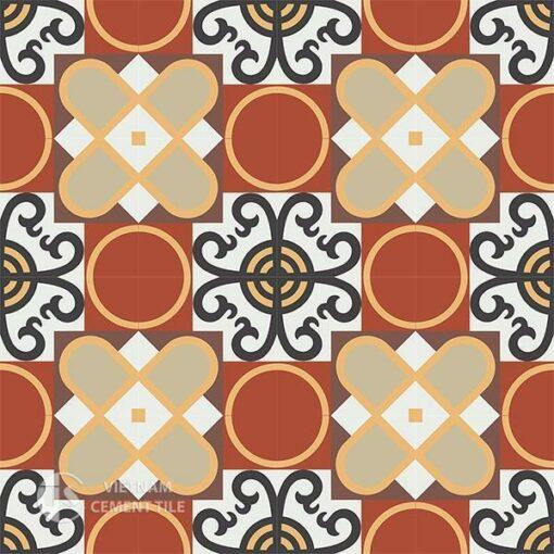 Gạch bông CTS 83.2(4-6-13-30-52-60) - 16 viên - Encaustic cement tile CTS 83.2(4-6-13-30-52-60)-16 tiles