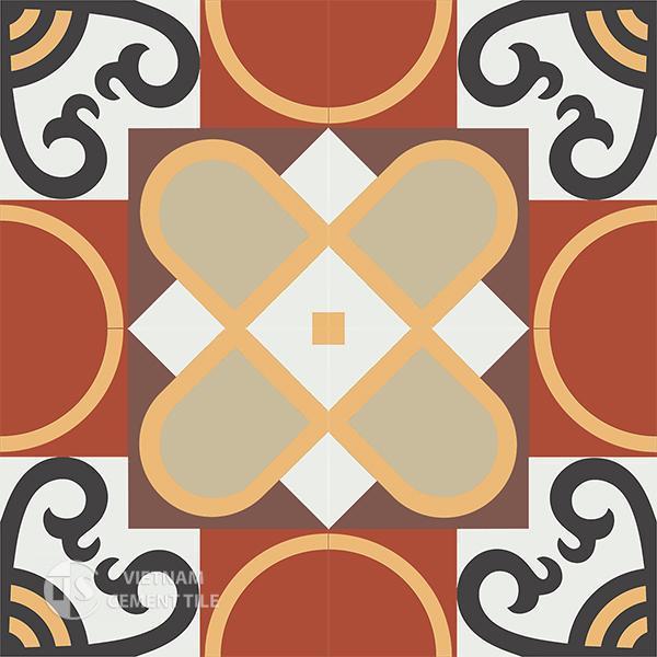 Gạch bông CTS 83.2(4-6-13-30-52-60) - 4 viên - Encaustic cement tile CTS 83.2(4-6-13-30-52-60)-4 tiles