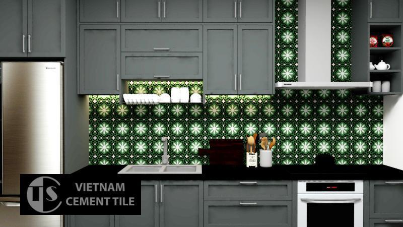 Gạch bông trang trí cts 1.24 ốp tường nhà bếp