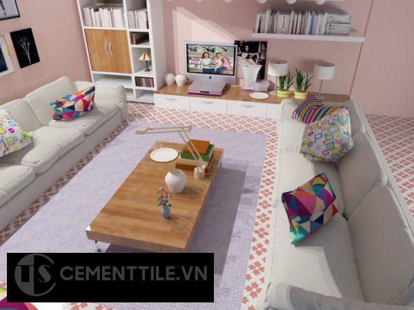 Gạch bông cts 114.4 trang trí phòng khách