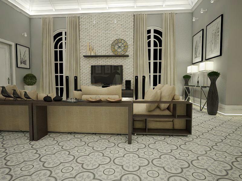 Gạch bông cts 2.16 trang trí phòng khách