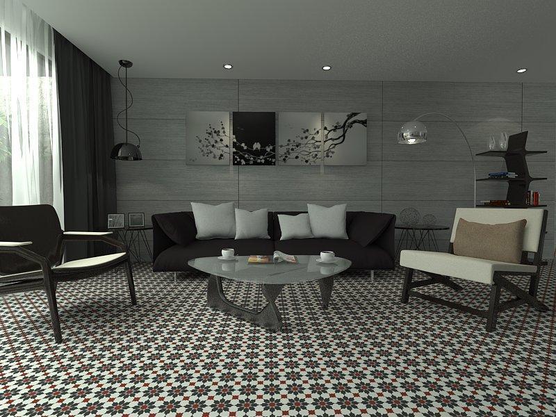 Gạch bông cts 3.18 trang trí phòng khách