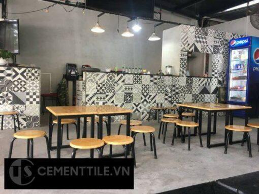 Gạch bông tổng hợp trắng xám đen trang trí quán cà phê
