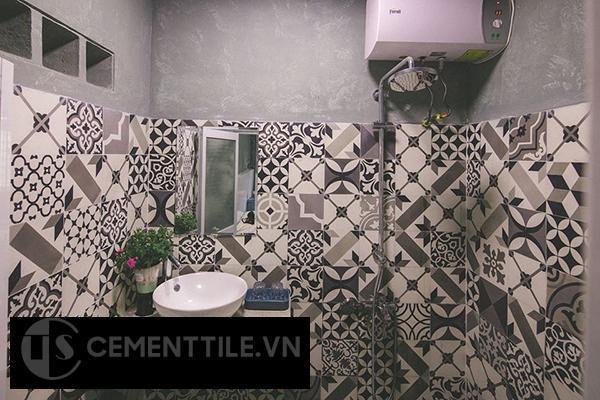Gạch bông tổng hợp trắng xám đen trang trí nhà tắm