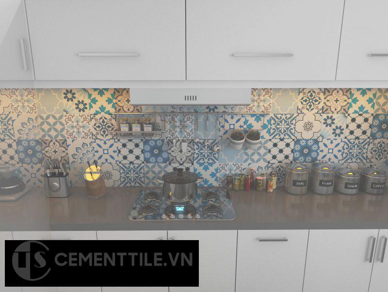 Gạch bông trang trí nhà bếp tông màu ngẫu nhiên