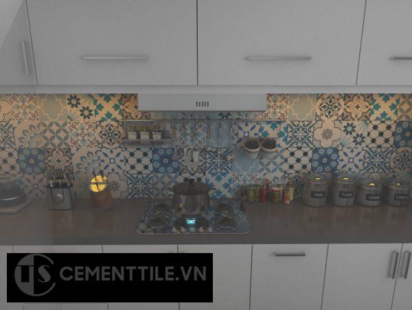 Gạch bông tổng hợp trang trí nhà bếp