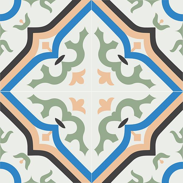 Gạch bông CTS 87.2(4-7-8-11-13) - 4 viên - Encaustic cement tile CTS 87.2(4-7-8-11-13)-4 tiles