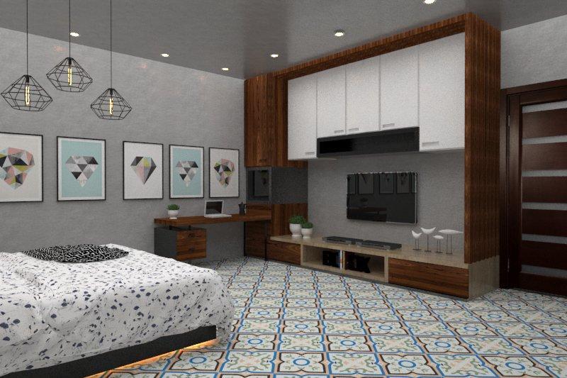 Gạch bông cts 87.2 trang trí phòng ngủ
