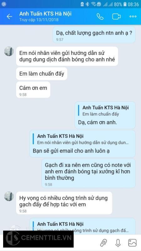 Đánh giá của khách hàng mua gạch bông tại Hà Nội