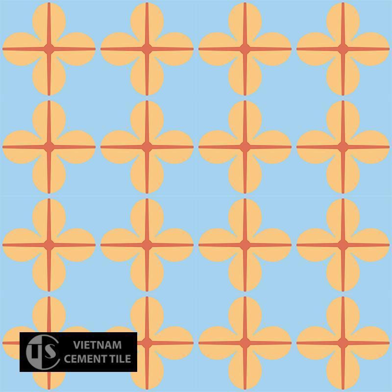 Gạch bông CTS 10.3(5-6-16) - 16 viên - Encaustic cement tile CTS 10.3(5-6-16)-16 tiles