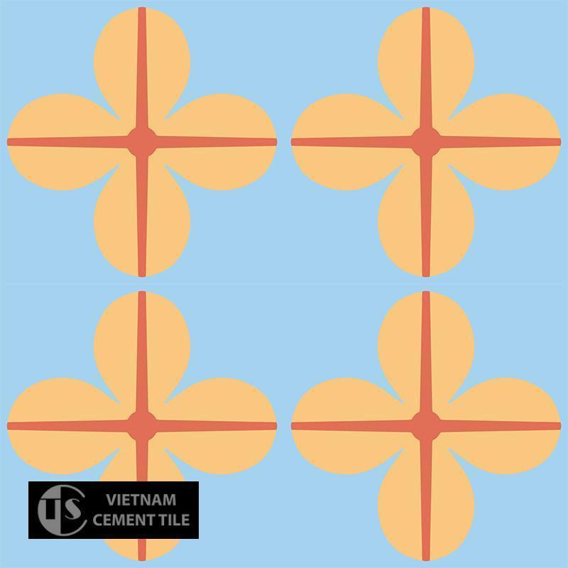 Gạch bông CTS 10.3(5-6-16) - 4 viên - Encaustic cement tile CTS 10.3(5-6-16)-4 tiles