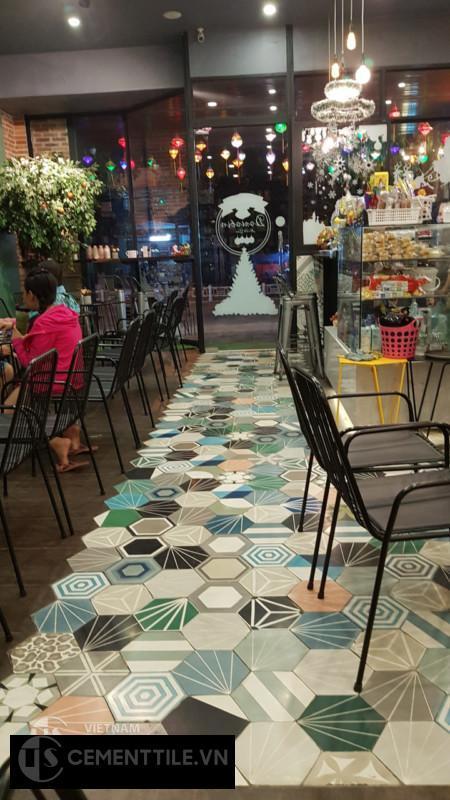 Gạch bông trang trí quán trà sữa
