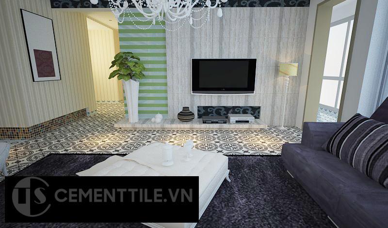 Gạch bông cts 120.2 trang trí phòng khách