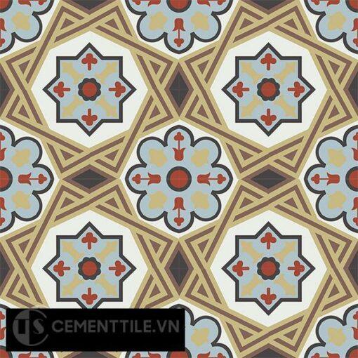 Gạch bông CTS 154.1(4-13-14-29-30-52) - 16 viên - Encaustic cement tile CTS 154.1(4-13-14-29-30-52)-16 tiles