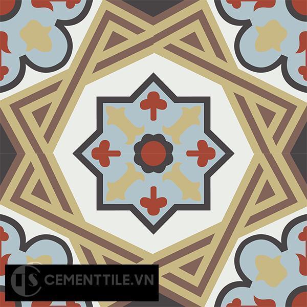 Gạch bông CTS 154.1(4-13-14-29-30-52) - 4 viên - Encaustic cement tile CTS 154.1(4-13-14-29-30-52)-4 tiles