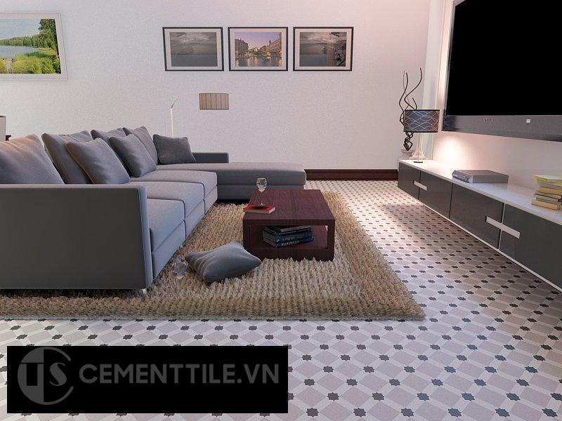 Gạch bông cts 68.5 trang trí phòng khách
