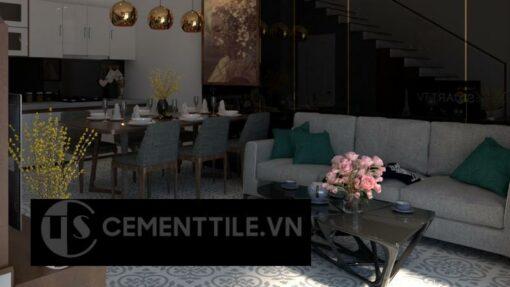Gạch bông cts 98.3 trang trí phòng khách