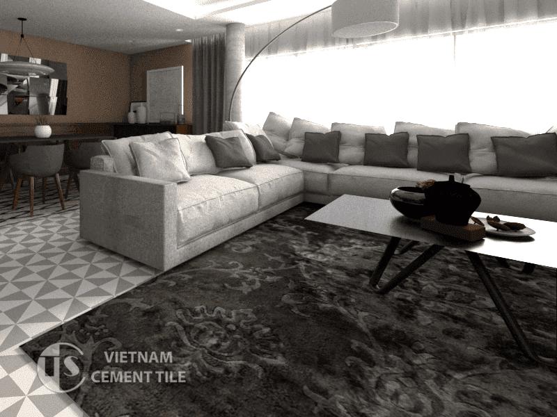 Gạch bông cts 34.5 trang trí phòng khách
