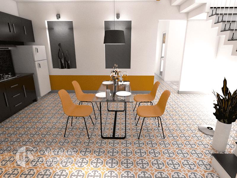 Gạch bông cts 4.9 lát nền nhà bếp