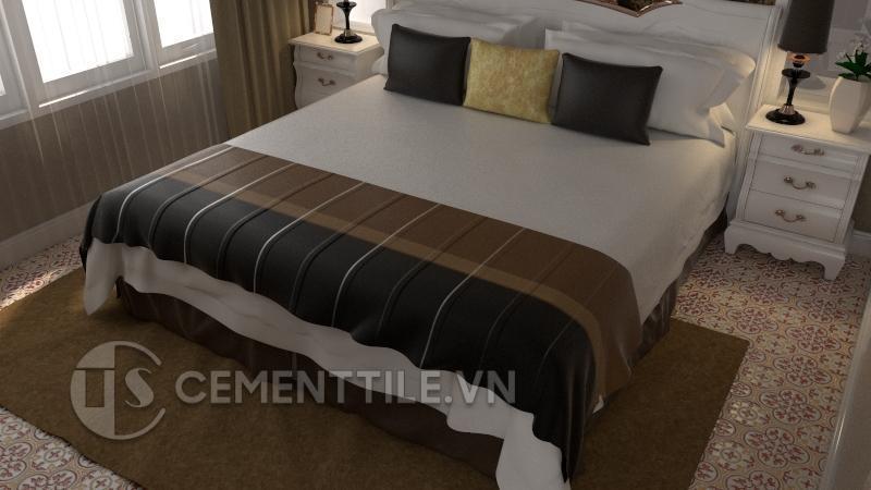 gạch bông cts 2.22 lát nền phòng ngủ